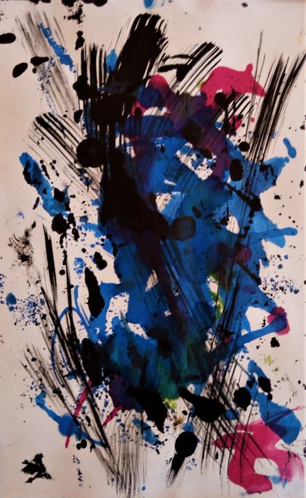 Ballet aérien 3 - Painting,  11.8x7.9 in, ©2020 by Jolivet -                                                                                                                          Abstract, abstract-570