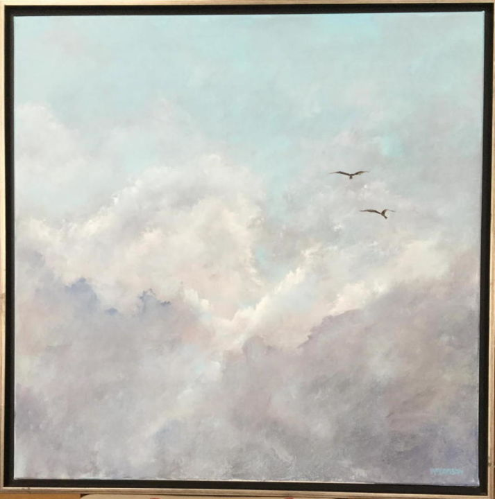 Eagles over Connecticuit River - Painting,  24x24x1.5 in, ©2019 by Pam Carlson -