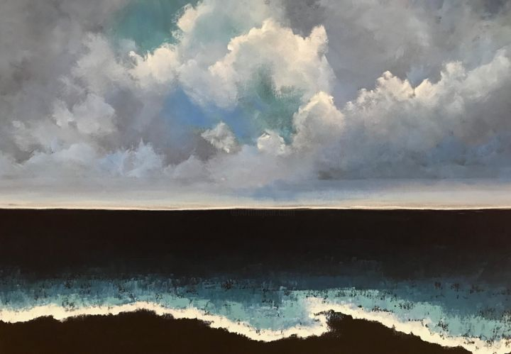 carlson-pamela-1-painting-evening-at-the-beach-700-36x24-acrylic.jpg - Painting,  24x36x1.5 in, ©2018 by Pam Carlson -
