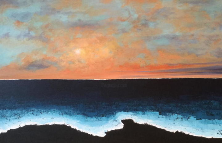 Birth of a New Day at Black Sands Beach - Painting,  36x24x1.5 in, ©2019 by Pam Carlson -