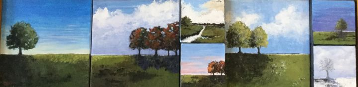 Four Seasons - Painting,  12x48x3 in, ©2018 by Pam Carlson -                                                                                                                                                                          Conceptual Art, conceptual-art-579, Landscape