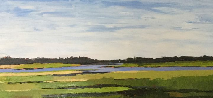 Peaceful Inlet 12 X 16 in - Painting,  789x1,710x2 in, ©2020 by Pam Carlson -                                                                                                                          Conceptual Art, conceptual-art-579