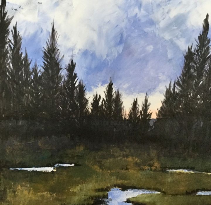 Hyalite headwaters 24 X 24 inches - Painting,  24x24x3 in, ©1019 by Pam Carlson -                                                                                                                                                                          Expressionism, expressionism-591, Landscape