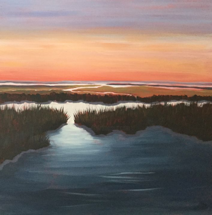 Summer marsh 24 X 24 inches - Painting,  24x24x2 in, ©2020 by Pam Carlson -                                                                                                                                                                          Expressionism, expressionism-591, Landscape