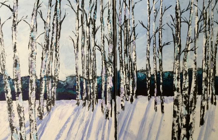 Winter Burches 2-12X16in.  sold separately - Painting,  1,980x3,086x2 in, ©2020 by Pam Carlson -                                                                                                                                                                          Classicism, classicism-933, Landscape