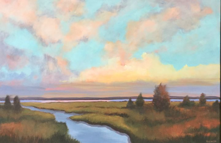 Pastel Marsh 24X36 in, - Painting,  24x36x3 in, ©2019 by Pam Carlson -                                                                                                                                                                          Classicism, classicism-933, Landscape