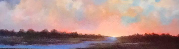 River Memories 12x48 - Painting,  12x48x3 in, ©2020 by Pam Carlson -                                                                                                                                                                          Classicism, classicism-933, Landscape