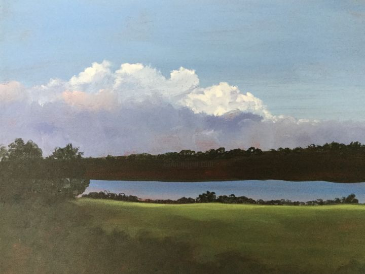The View 12x16 in. - Painting,  12x16x2 in, ©2020 by Pam Carlson -                                                                                                                                                                                                                      Classicism, classicism-933, Landscape, Water