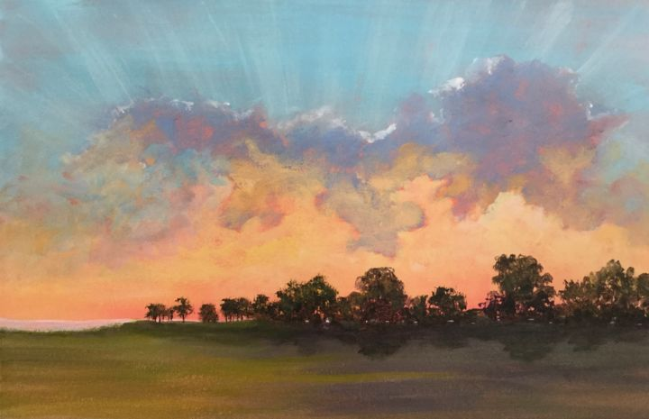 Sunburst I 12x16 in. - Painting,  1,834x2,841x3 in, ©2019 by Pam Carlson -                                                                                                                                                                          Classicism, classicism-933, Landscape