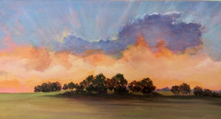 Sunburst II 10x14 in. - Painting,  1,675x3,092x2 in, ©2020 by Pam Carlson -                                                                                                                                                                          Classicism, classicism-933, Landscape