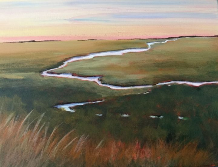 Serpentine river 12x16 in. - Painting,  12x16x3 in, ©2020 by Pam Carlson -                                                                                                                                                                          Classicism, classicism-933, Landscape