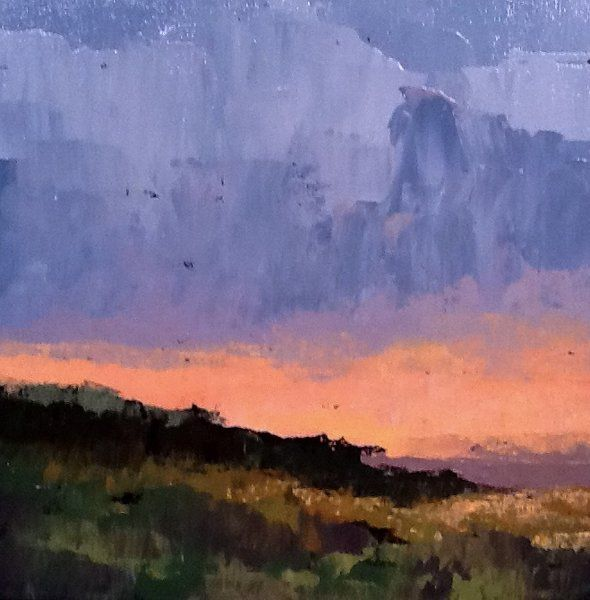 sunset #1 - Painting,  12x12 cm ©2014 by Pam Carlson -                        Figurative Art