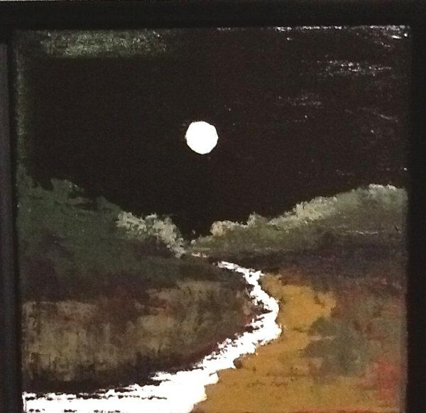 Moon light river - Painting,  12x12 in ©2014 by Pam Carlson -                        Figurative Art