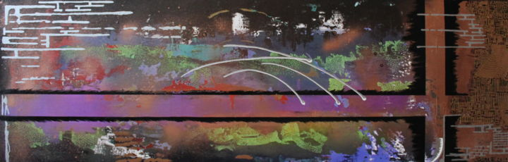 Planète Méca - Painting,  40x120 cm ©2017 by Pasthete // Salima Woestyn -                                        Abstract Art, Outer Space