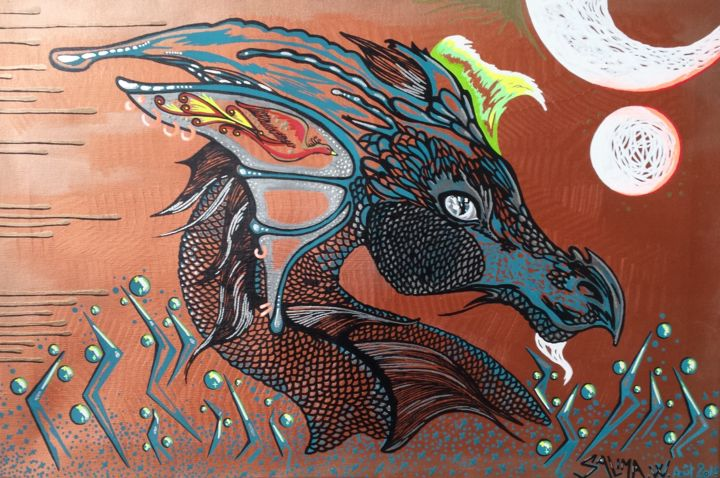 Dragon gardien - Painting,  40x60 cm ©2018 by Pasthete // Salima Woestyn -                                                                                                Street Art (Urban Art), Canvas, World Culture, Dark-Fantasy, Fantasy, Heroic-Fantasy, dragon, phoenix
