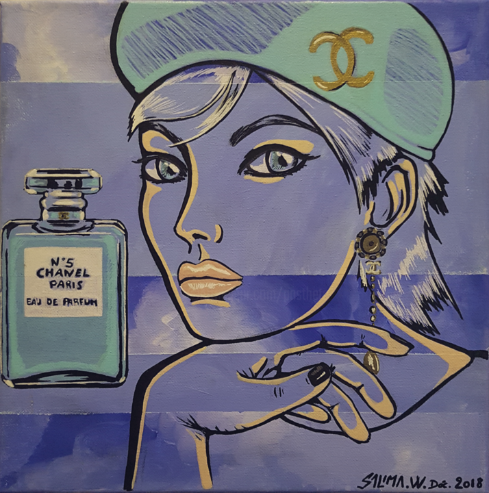 Dame Chanel - Painting,  30x30 cm ©2018 by Pasthete // Salima Woestyn -                                                                        Art Deco, Canvas, Women, Fashion, parfum, Chanel