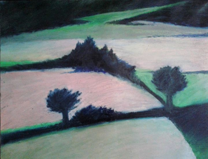 20170128-104608.jpg - Painting,  21.7x25.6 in, ©2017 by Patrick Desombre -                                                              Landscape