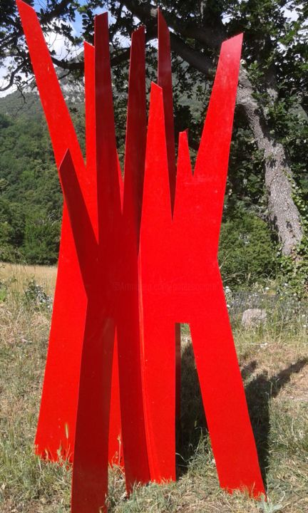 grand-arbre-rouge-1.jpg - Sculpture,  39.4x98.4 in, ©2016 by Patrick Desombre -                                                              Nature