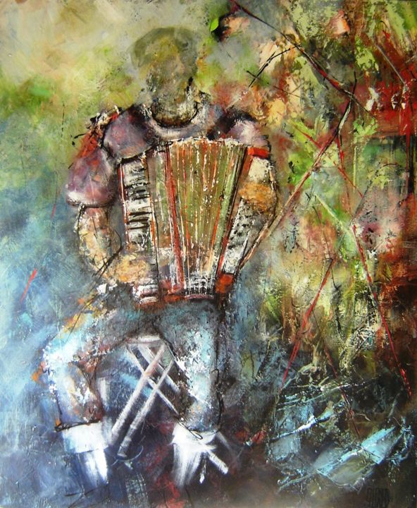 """Painting titled """"l-accordeoniste.jpg"""" by Patricia Alfred, Original Art, Oil"""