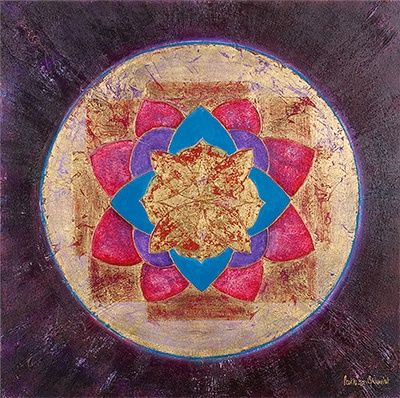 open lotus energy - Painting,  31.5x31.5 in, ©2007 by Patricia Queritet -