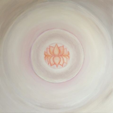 Marriage - Painting,  70.9x70.9 in, ©2011 by Patricia Queritet -                                                                                                                                                      The Union between 2 'Lotus' flowers...serene, tender, powerfull