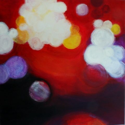 Inspiration - Painting,  80x80 cm ©2010 by Patricia Queritet -            Ideas flowing ... you just have to pick them up