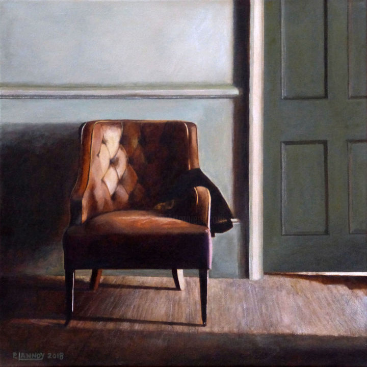 Intérieur N°65.jpg - Painting,  15.8x15.8 in, ©2018 by Patrice Lannoy -                                                                                                                                                                          Figurative, figurative-594, Interiors