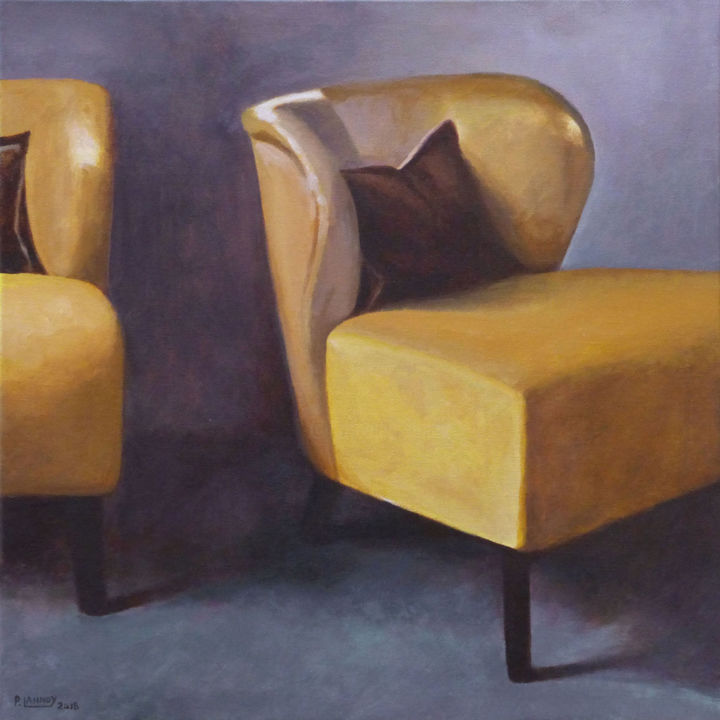 Intérieur N°61 - Two Yellow Armchairs - Painting,  15.8x15.8 in, ©2018 by Patrice Lannoy -                                                                                                                                                                          Figurative, figurative-594, Interiors
