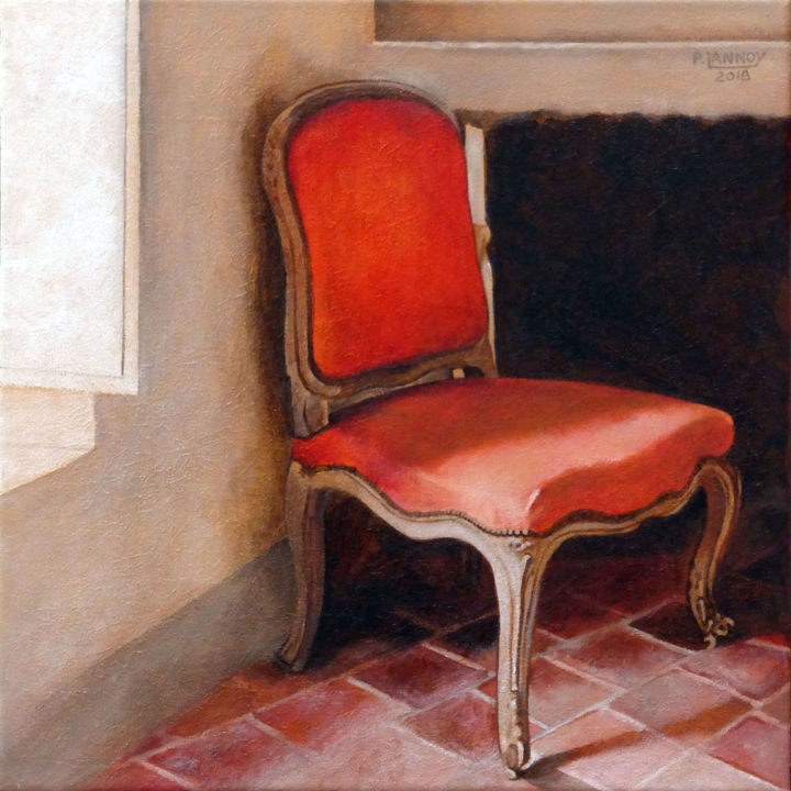 Intérieur N°60 - The Red Chair - Painting,  15.8x15.8 in, ©2018 by Patrice Lannoy -                                                                                                                                                                          Figurative, figurative-594, Interiors