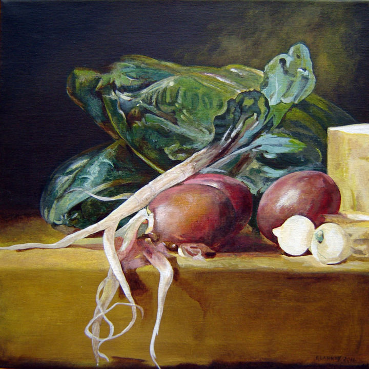 Nature morte aux navets et aux bettes - Painting,  15.8x15.8 in, ©2011 by Patrice Lannoy -                                                                                                                                                                                                                                                                                                                                                                                                                                                                                                                                              Figurative, figurative-594, Still life, Patrice, Lannoy, tableau, figuratif, réaliste, nature, morte, Chardin
