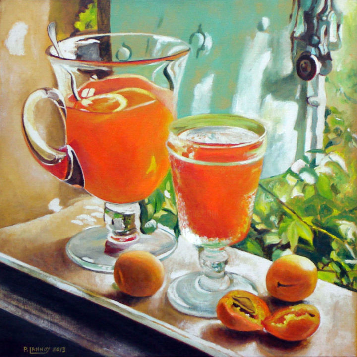 Abricots,carafe et verre - Painting,  19.7x19.7 in, ©2012 by Patrice Lannoy -                                                                                                                                                                                                                                                                                                                                                                                                                                                                                                                                                                                                                                      Figurative, figurative-594, Still life, Patrice, Lannoy, tableau, figuratif, nature, morte, abricots, carafe, peinture, toile