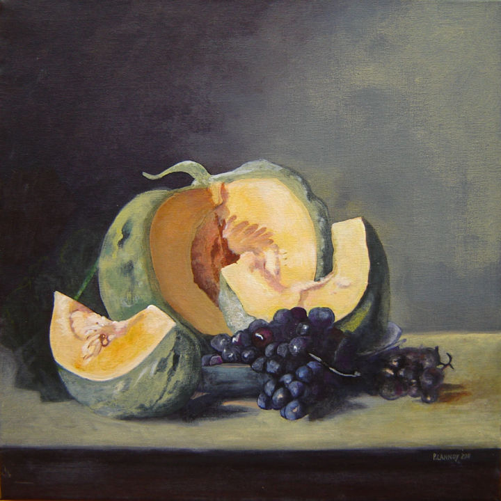 Nature morte melon - Painting,  15.8x15.8 in, ©2011 by Patrice Lannoy -                                                                                                                                                                                                                                                                                                                                                                                                                                                                                                                                              Figurative, figurative-594, Still life, Patrice, Lannoy, tableau, figuratif, réaliste, nature, morte, melon