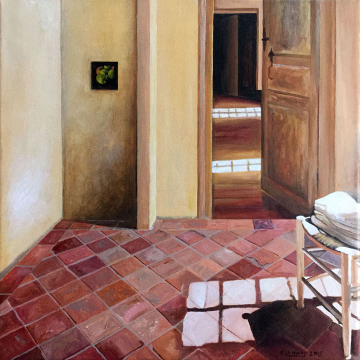 Intérieur n°36 - Painting,  15.8x15.8x0.7 in, ©2015 by Patrice Lannoy -                                                                                                                                                                          Figurative, figurative-594, Interiors