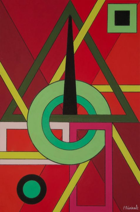 Entrelacements - Drawing,  23.6x15.8 in, ©2019 by Patrice PREVEIRAULT -                                                                                                                                                                                                                                                                                                                                                          Abstract, abstract-570, Architecture, Abstract Art, Colors, Geometric, Light