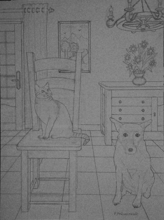 Chat perché (l'esquisse) - Drawing,  15.8x11.8 in, ©2019 by Patrice PREVEIRAULT -                                                                                                                                                                                                                                                                                                                                                                                                                                                                                                                                                                                                                                                                                                                              Figurative, figurative-594, Animals, Performing Arts, Cats, Dogs, Geometric, Perspectives, Bahut, Carrelage, Suspension, Chaise, Rideau, Chat perché, Tournesols