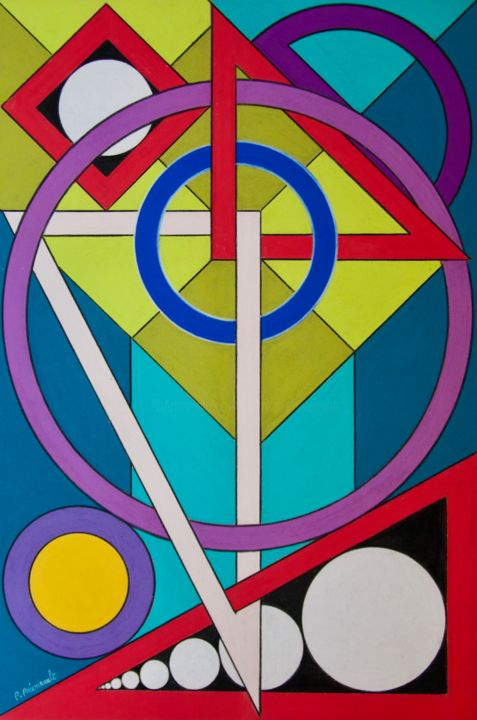 Surveyor's Panoply - Drawing,  23.6x15.8 in, ©2019 by Patrice PREVEIRAULT -                                                                                                                                                                                                                                                                                                                                                                                                                                                                                                                                                                                          Abstract, abstract-570, Architecture, Abstract Art, Colors, Geometric, Equerre, Cercle, Anneau, raporteur, règle, Patrice Préveirault