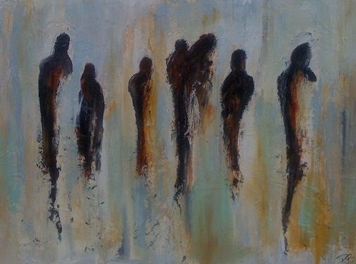 Des gens - Painting,  22x30 in ©2010 by Patrice Brunet -
