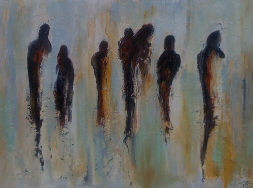 Des gens - Painting,  22x30 in, ©2010 by Patrice Brunet -