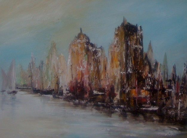 Le canal - Painting,  16x20 in, ©2011 by Patrice Brunet -