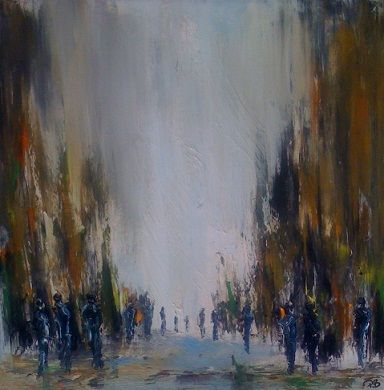 Le chemin - Painting,  24x24 in, ©2011 by Patrice Brunet -