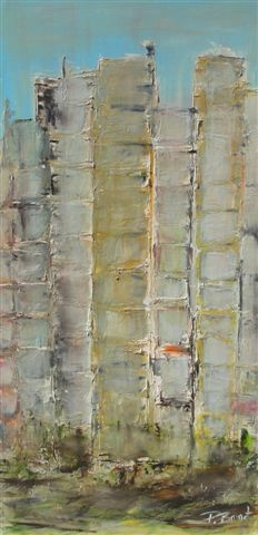 Facades - Painting,  48x24 in ©2011 by Patrice Brunet -