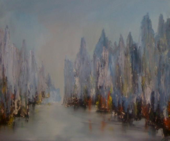 Les quais - Painting,  20x24 in ©2011 by Patrice Brunet -