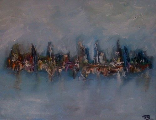 Vue du large - Painting,  11x14 in, ©2011 by Patrice Brunet -