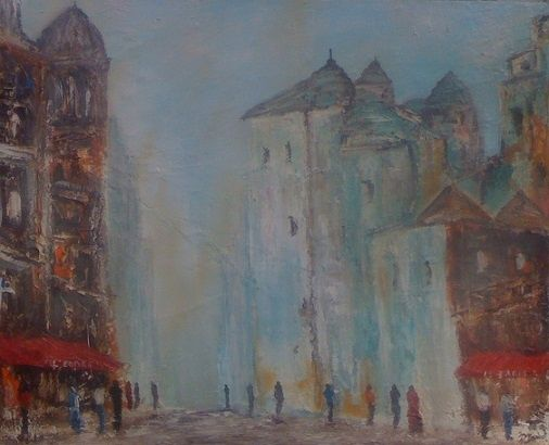 Rue pietonne - Painting,  24x30 in, ©2011 by Patrice Brunet -