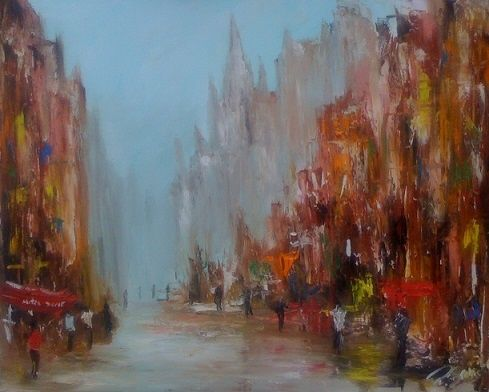 Rue notre dame - Painting,  24x30 in ©2011 by Patrice Brunet -                        Abstract Expressionism
