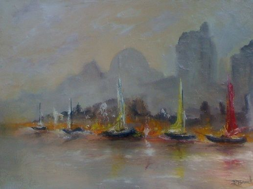 Matin brumeux - Painting,  18x24 in ©2011 by Patrice Brunet -