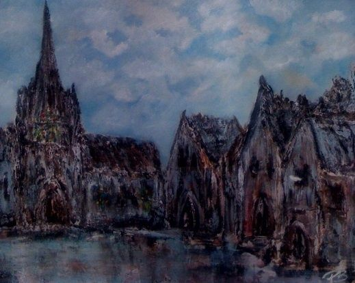 Le parvis - Painting,  30x24 in ©2011 by Patrice Brunet -