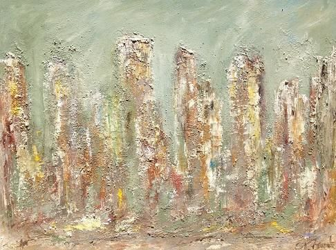 Front de Seine - Painting,  36x48 in ©2012 by Patrice Brunet -                        Abstract Expressionism