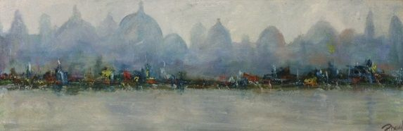Les pecheurs - Painting,  47x16 in ©2012 by Patrice Brunet -