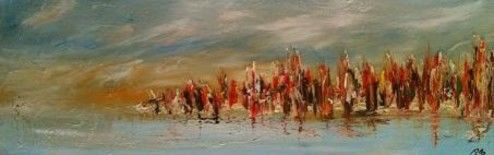 La berge - Painting,  12x36 in, ©2012 by Patrice Brunet -